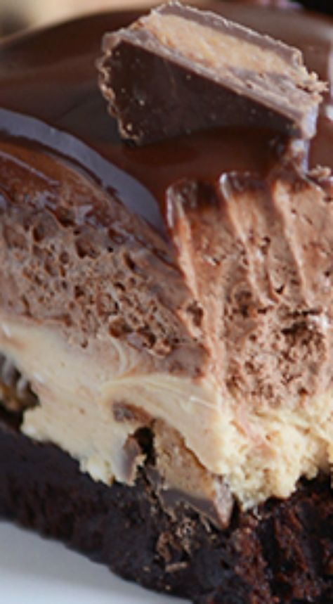 Peanut Butter Chocolate Mousse Brownie Cake ~ Light and fluffy layers of peanut butter and chocolate mousse piled on top of the rich, fudgy brownie... Deliciously perfect