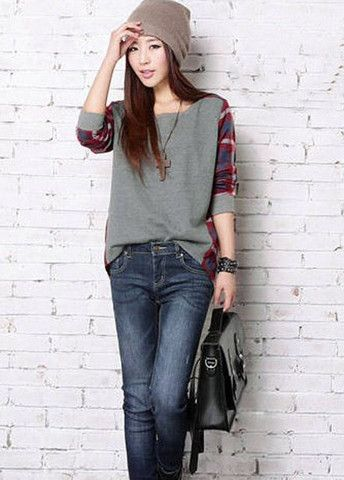 New Arrival Grey and Red Plaid Patchwork Tees – teeteecee - fashion in style
