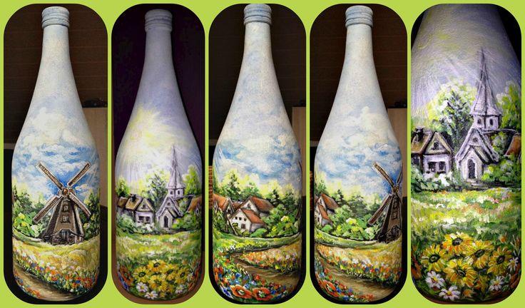 Sommer (Deko-Flasche) Bild auf Glas/ Akrylfarben/Handarbeit