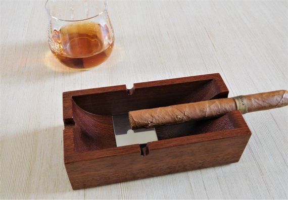 Wood ashtray, cigar gift for him, smoking accessories, handmade men cigar gifts, bestfriend gift idea, cigar gifts for dad, weer ashtray