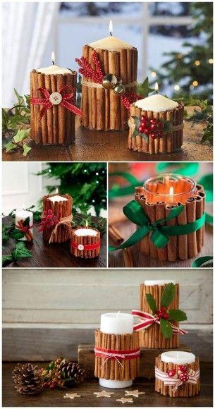 Bougies de Noël avec bâtons de cannelle
