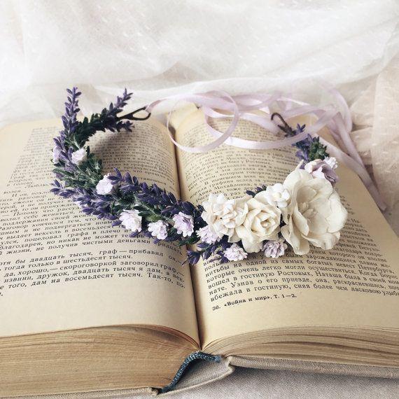 Corona de lavanda corona de flores corona de novia por SERENlTY