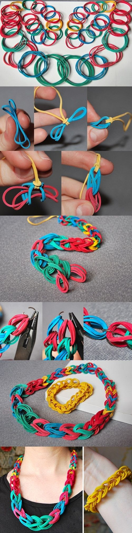 Elastic band jewellery, could also do it with those really skinny rubber bangles.
