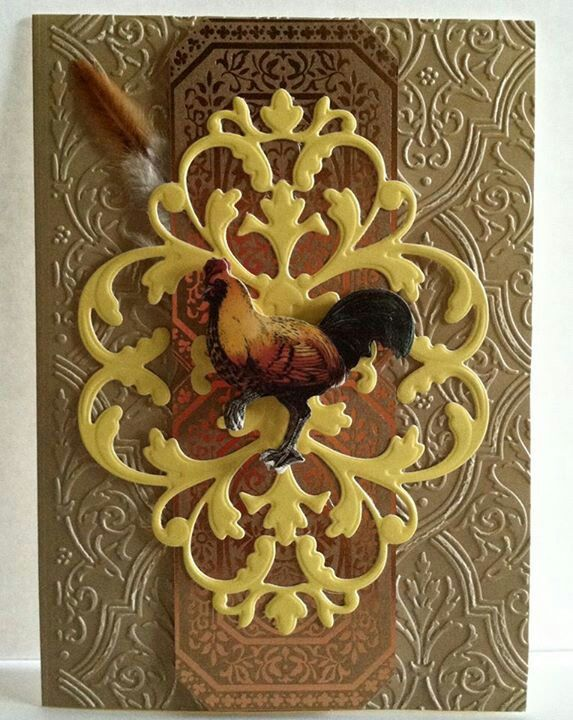 Anna Griffin, feather, rooster, fancy die & embossing handmade card