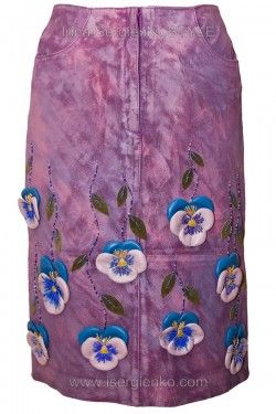 Замшевая юбка с цветами из кожи Анютины глазки