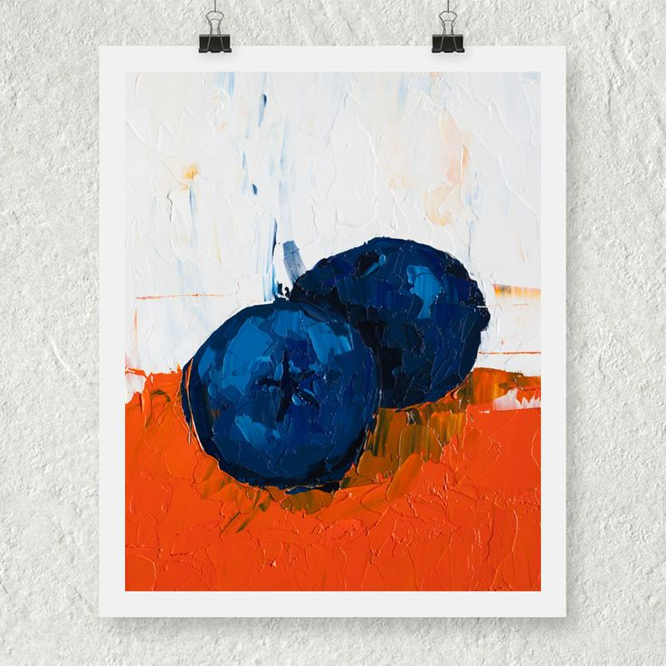 Blueberry Art Print, Kitchen Wall Decor, Still Life Painting, Autumn Fruit, Blue and Orange, Food Wall Art, Kitchen Artwork, Dining Room Art by ebuchmann on Etsy