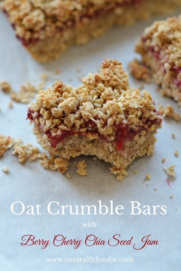 Oat Crumble Bars - Natural Fit Foodie - These Oat Crumble Bars with Berry Cherry Chia Seed Jam are gluten-free, vegan and refined sugar-free. Not to mention delicious of course!