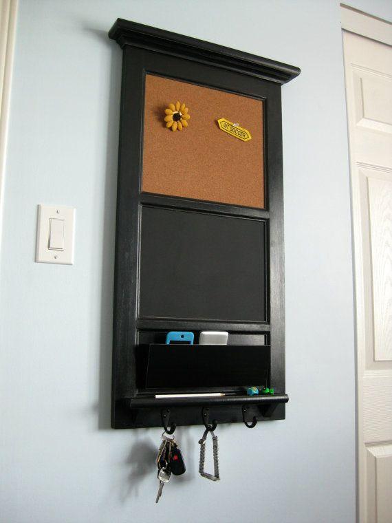 Vertical wall tall chalkboard cork bulletin board with for Bulletin board organizer