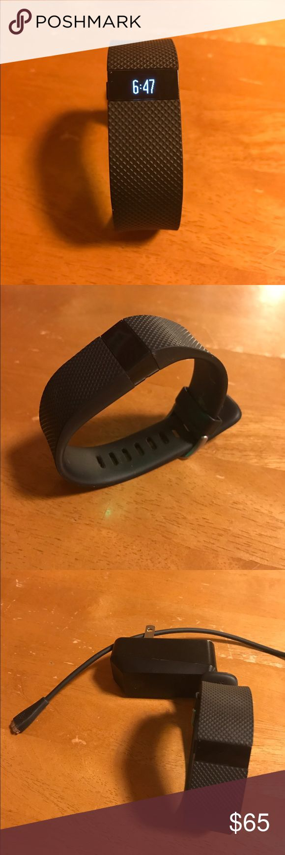 Fitbit Charge HR PRICE FIRM - Excellent working condition, just upgraded to a newer version. Tracks heart rate, calories, steps, flights climbed, and distance. Can also log workouts (manually or auto detect) and notifies of incoming calls. Battery lasts approximately 4 days with normal activity. Size small (5.5 - 6.7 in wrist) Fitbit Accessories Watches