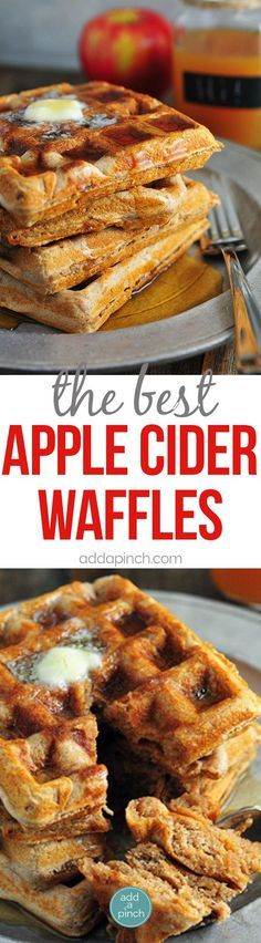Apple Cider Waffles Recipe - Apple cider waffles are a great addition to your fall and winter breakfast routine. Serve these waffles with warm maple syrup and apple cider for the ultimate breakfast! // http://addapinch.com