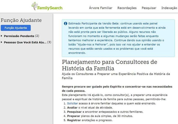 """""""Planejamento para Consultores de História da Família""""— conheça, teste e nos ajude a melhorar este novo recurso aos consultores, disponível na versão Beta no endereço: www.familysearch.org/ask/planner #EncontreLeveEnsine #familysearch"""