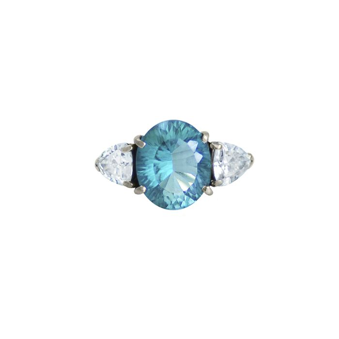Topaz and diamond engagement ring in 18K white gold. #engagement #jewelry #jewellery #wedding #bride