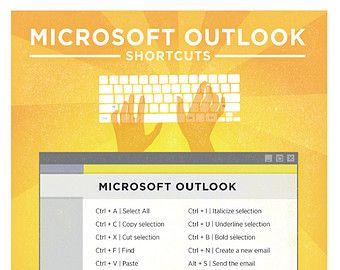 Microsoft Excel PC teclado atajo cartel imprimible 8.5 x 11