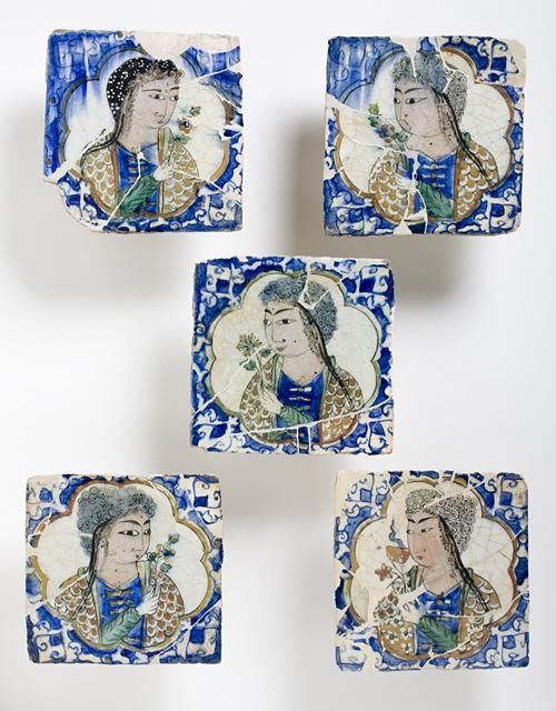 Figural Tiles | Origin: Northwest Iran | Period: Late Islamic | Collection: The Madina Collection of Islamic Art, gift of Camilla Chandler Frost (M.2002.1.224a-e) | Type: Ceramic; Architectural element, Fritware, underglaze-painted, 7 x 7 in. (17.78 x 17.78 cm) each
