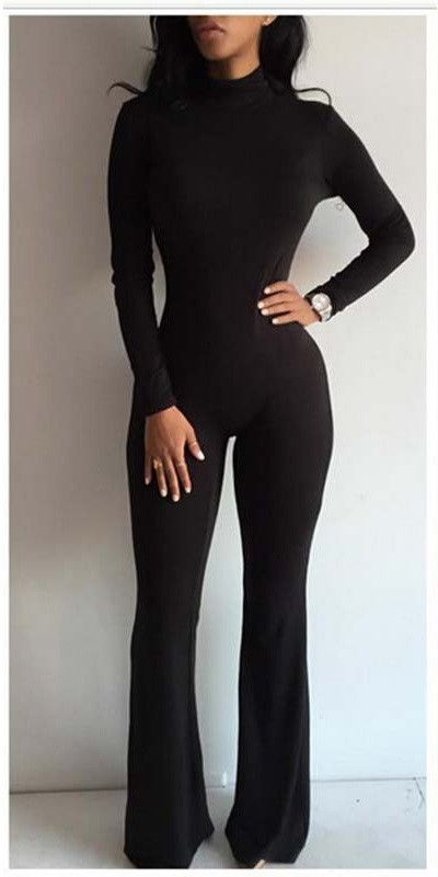 Fashion Rompers Womens Jumpsuit Turtleneck Acrylic Solid Sexy Bodycon Long Sleeve Full Length Women Jumpsuits