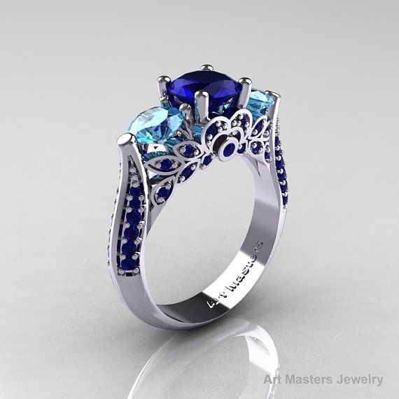 Classic 14K White Gold Three Stone Blue Sapphire by artmasters