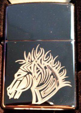 vector kgm thunderbird custom lighter flaming trojan tribal tattoo horse head logo high polish. Black Bedroom Furniture Sets. Home Design Ideas