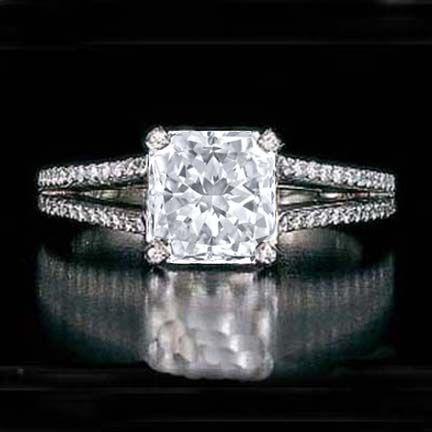 LOVE!! - Square Radiant Diamond split band Engagement Ring