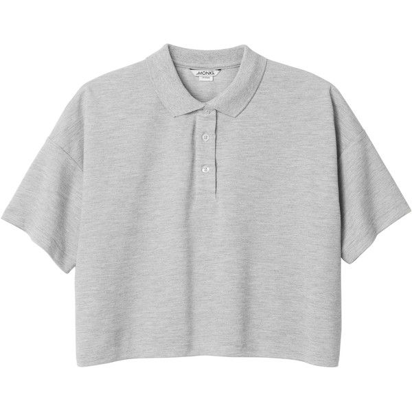 Monki Nathalie tee ($6.40) ❤ liked on Polyvore featuring tops, t-shirts, shirts, crop tops, grey cloud, gray shirt, polo tees, twisted t shirts, crop t shirt and t shirts