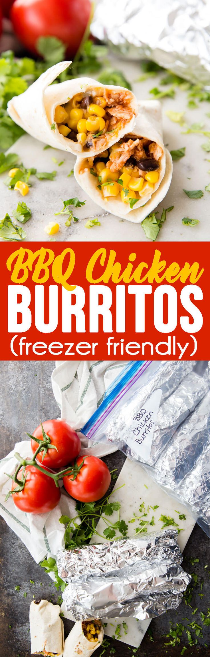 BBQ Chicken Burritos are quick, easy, and perfect for freezing!  #chickendinner #freezermeal #chickenburrito #burrito