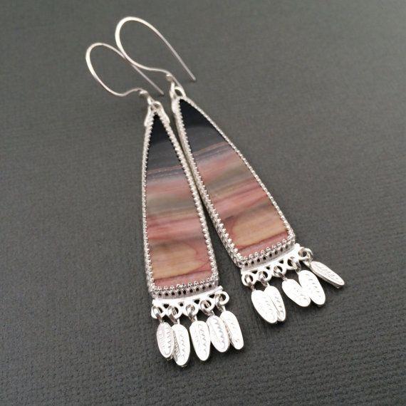 Zebra hickoryite earrings dangly earrings stone earrings by prox