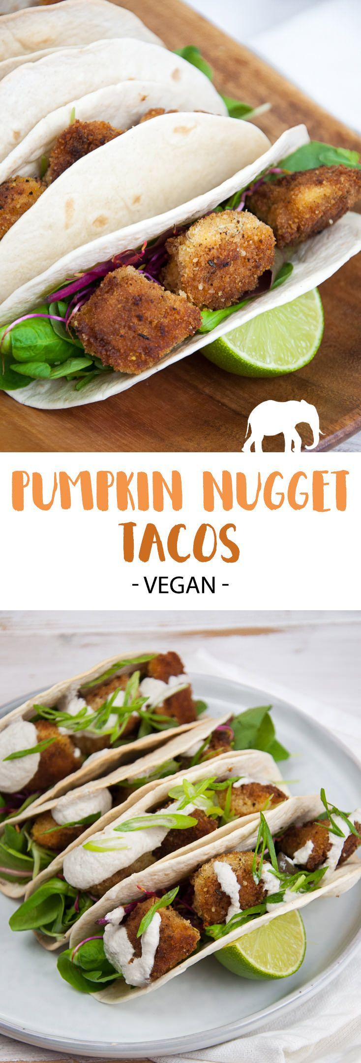 These vegan Pumpkin Nugget Tacos are filled with homemade breaded pumpkin pieces, salad, sprouts and topped with Garlic Sunflower Sauce. Delicious!