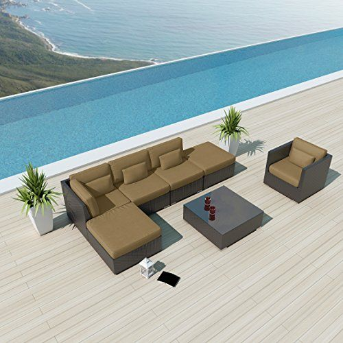 Uduka Outdoor Sectional Patio Furniture Espresso Brown Wicker Sofa Set  Porto 7 Taupe All Weather Couch