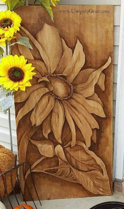 s 15 incredible furniture flips where the stain stole the show, painted furniture, This warm sunflower porch art