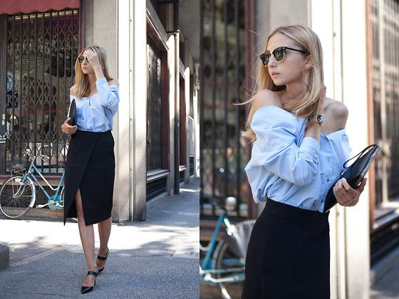 Furla Clutch, H&M Envelope Skirt, Sheinside Blouse, Baldowski Heels