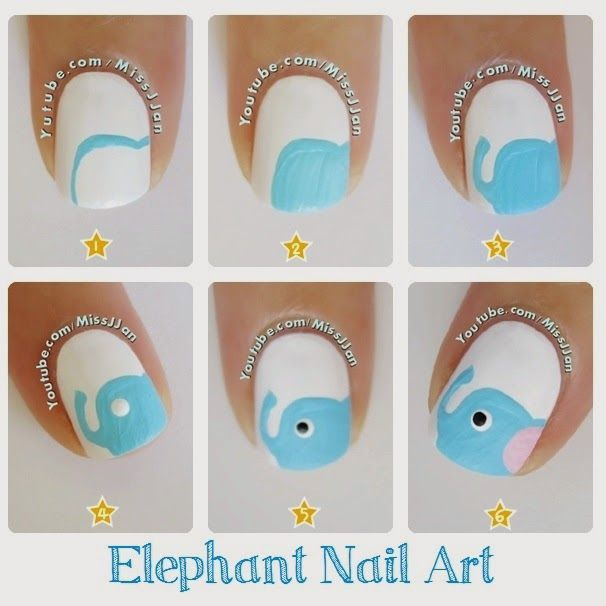 ♥ Tutorial ♥ Elephant Nail Art ♥ Nail Design, Nail Art, Nail Salon, Irvine, Newport Beach
