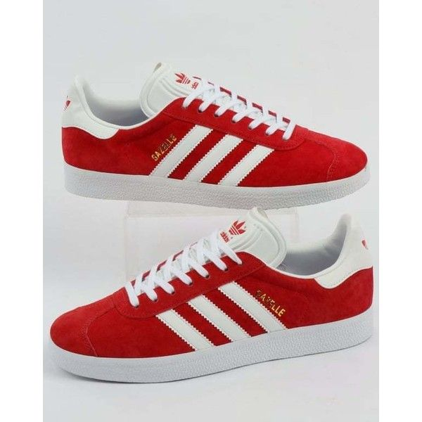 Adidas Red Gazelle Trainers, White Stripe, Suede |80s Casual ...