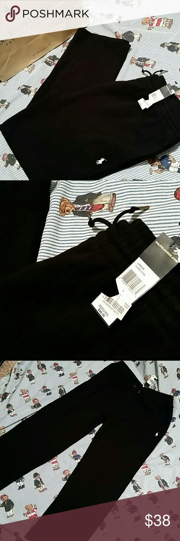NEW Ralph Lauren Sweat Pants NWT In excellent condition. No damage. Never been used. Heavier material like the Ralph Lauren sweater.  Superior quality. ColorJet black 100% Cotton EXCLUSIVE OF DECORATION    Purchase for your self or as a gift.  Visit closet for more great deals often. Polo by Ralph Lauren Pants Sweatpants & Joggers
