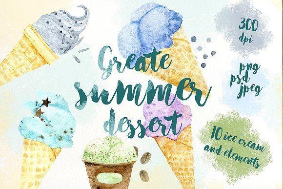 Watercolor ice cream. Summer dessert by IrinaUsmanova on @creativemarket