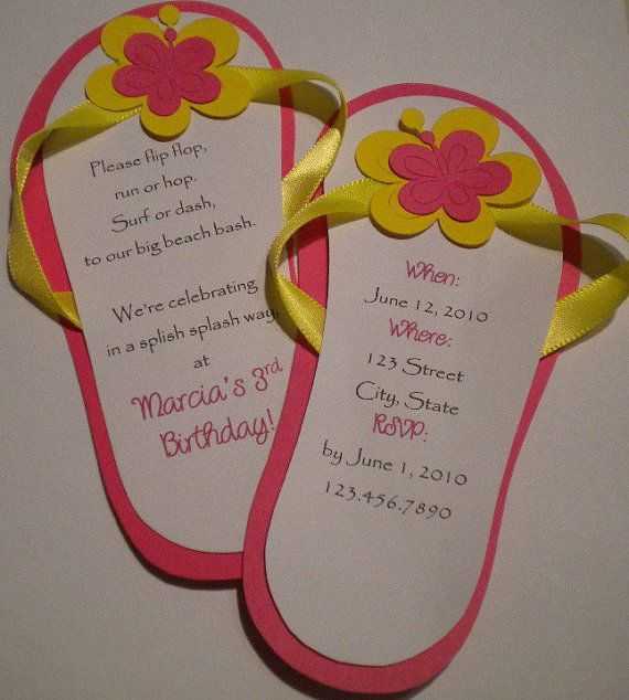 Flip Flop Invitations for a Beach Birthday by PinwheelCraftsParty, $18.00