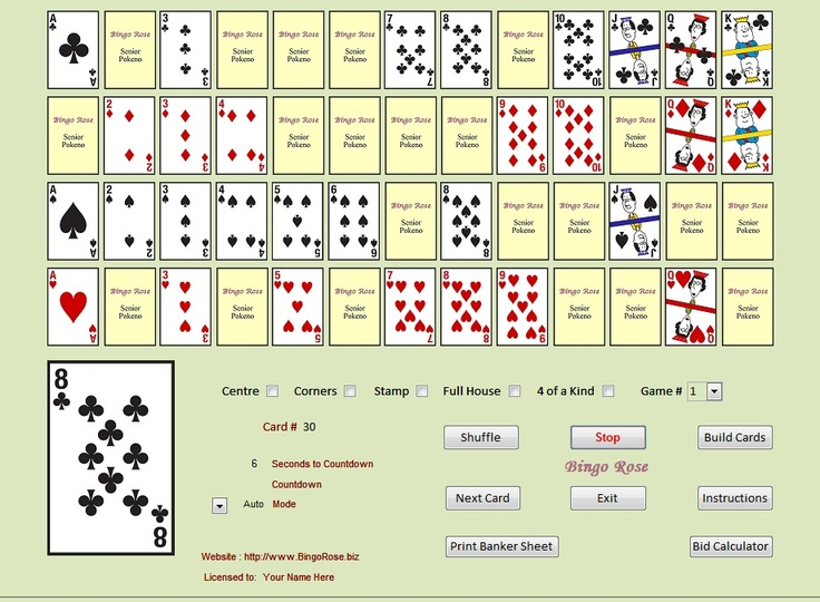 The Senior Pokeno main screen. Create your own game boards