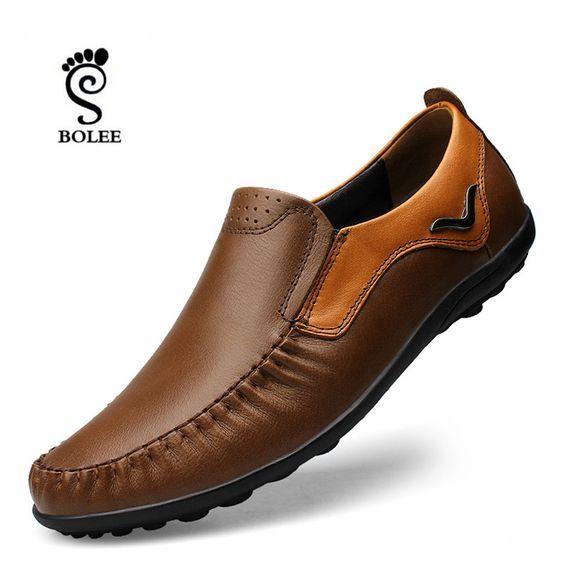Zapatos planos de hombre de alta calidad, mocasines de conducción de moda, zapatos de hombre de cuero genuino mocasines zapatillas hombre   – clothes