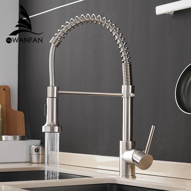 Online Shop Kitchen Faucets Brush Brass Faucets For Kitchen Sink Single Lever Pull Out Spring Spou Kitchen Faucet Spring Spout Kitchen Faucet Kitchen Sink Taps