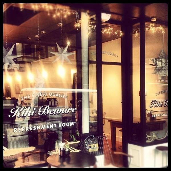 Kiki Beware cafe logo / signage by Kirsty Swan, via Behance