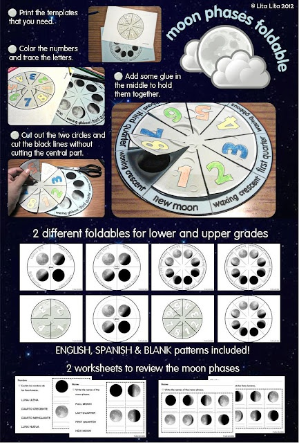 Moon phases foldable and worksheets