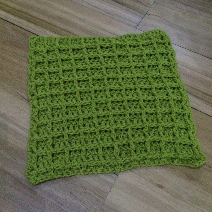 Image of Handmade Crochet Wash Cloths in Waffle Stitch