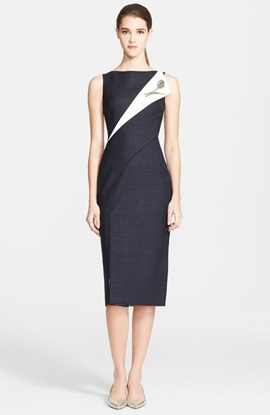 Oscar de la Renta Folded Double-Face Wool Blend Pencil Dress available at #Nordstrom