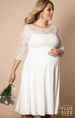 b3ae0d5c9d30a Lucia Plus Size Maternity Wedding Dress Short Ivory - Maternity Wedding  Dresses, Evening Wear and Party Clothes by Tiffany Rose UK