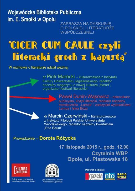 """""""Cicer cum caule, czyli literacki groch z kapustą"""" - panel dyskusyjny.  Panel-dyskusyjny-d.jpg (Obrazek JPEG, 566×800pikseli)"""