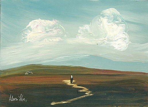 Adam Kos- Returning Home West Of Ireland  #art #painting #Westmeath #path #road #cottage #Ireland #DukeStreetGallery