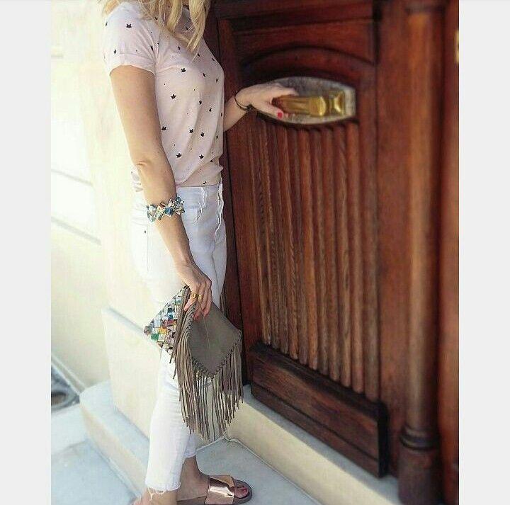 Handmade bag & bracelet by L_L.♡ #handmade #handmadeingreece #bag#clutch#leather#grey #fringes#origami#paper#cartoon #bracelet #colorful#gold#studs #jewerly #accessories#greekdesigner #calliopil_l