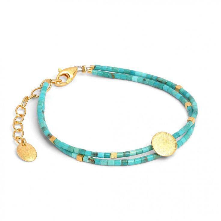 Sunny Armkette in goldplattiert mit blauem Türkis - SUNNY - DESIGNLINIEN | Bernd Wolf