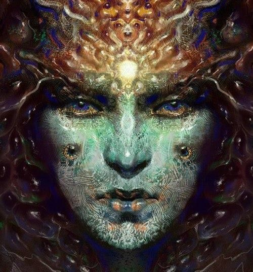 What we really are is a community of mind, knitted together by codes and symbols, intuitions, aspirations, histories, hopes — the invisible world of the human experience is far more real to us than the visible world, which is little more than a kind of stage or screen on which we move.   ~ Terence McKenna   Art by Jake Kobrin