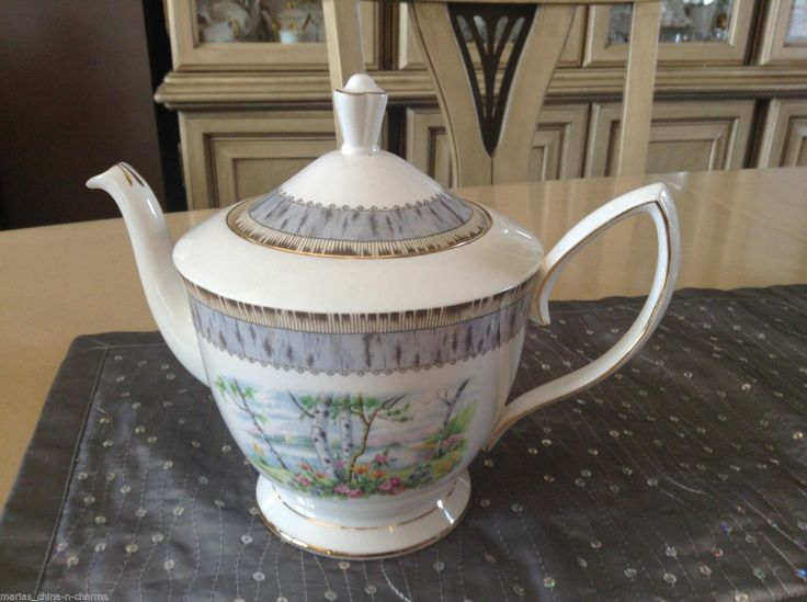 Royal Albert Silver Birch LG 6 Cup Tea Pot Teapot England English Bone China   eBay