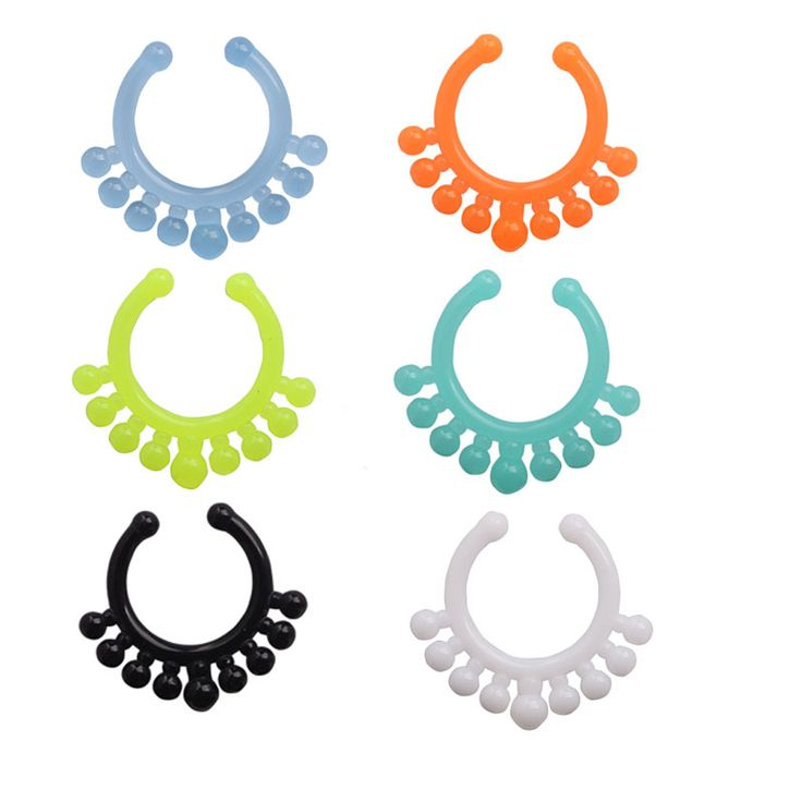 Смесь 6 цвет 24 шт. мяч уф акриловые поддельные кольцо в носу обруч кольцо кольцо в носу тела поддельные перегородки кольца клип пирсинг
