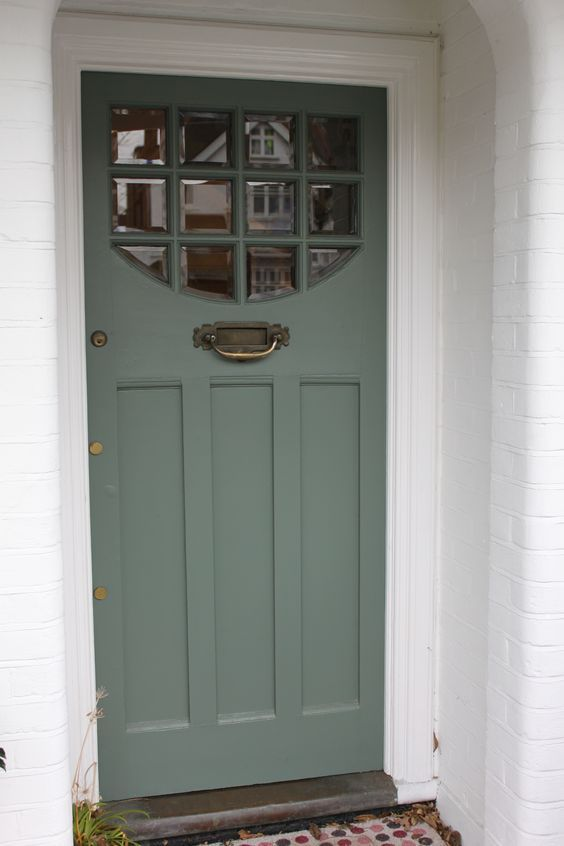 1920s/1930s front door with beveled clear glass in south west London:
